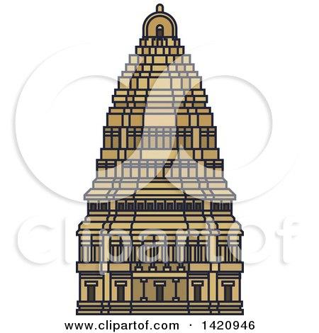 Clipart of a India Landmark, Virupaksha Temple - Royalty Free Vector Illustration by Vector Tradition SM