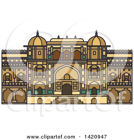 Clipart of a India Landmark, Amer Fort - Royalty Free Vector Illustration by Vector Tradition SM