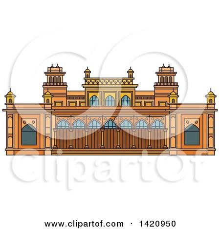 Clipart of a India Landmark, Royal Palace Chowmahalla - Royalty Free Vector Illustration by Vector Tradition SM