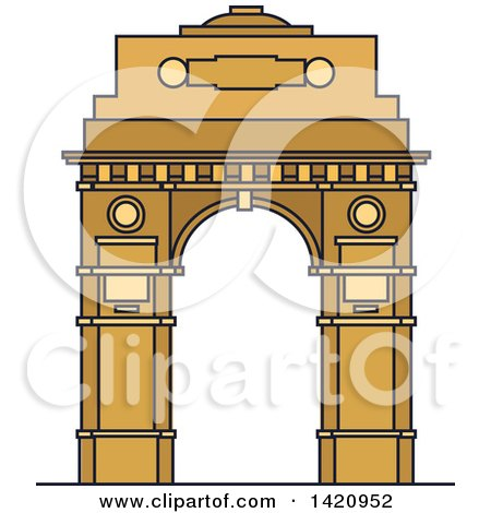 Clipart of a India Landmark, India Gate - Royalty Free Vector Illustration by Vector Tradition SM
