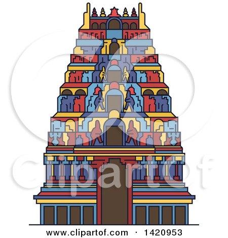 Clipart of a India Landmark, Hindu Meenakshi Amman Temple - Royalty Free Vector Illustration by Vector Tradition SM