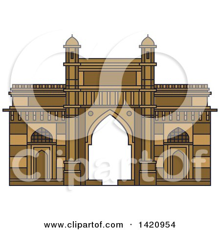 Clipart of a India Landmark, Gateway of India - Royalty Free Vector Illustration by Vector Tradition SM