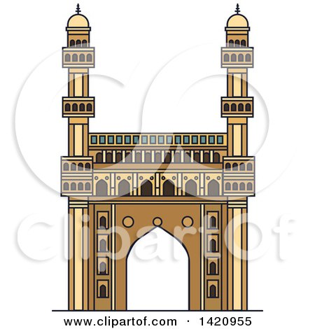 Clipart of a India Landmark, Mosque Charminar - Royalty Free Vector Illustration by Vector Tradition SM