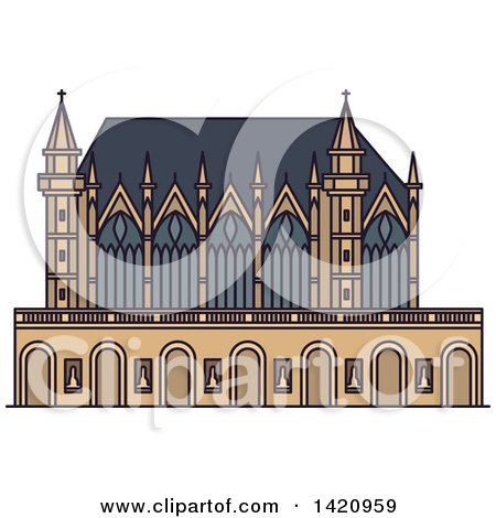 Clipart of a French Landmark, Chapel Sainte-Chapelle - Royalty Free Vector Illustration by Vector Tradition SM