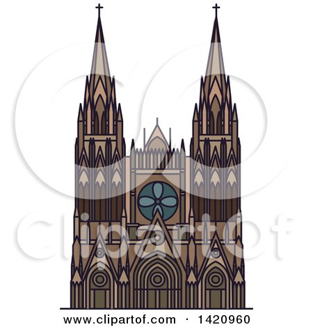Clipart of a French Landmark, Bourges Cathedral - Royalty Free Vector Illustration by Vector Tradition SM