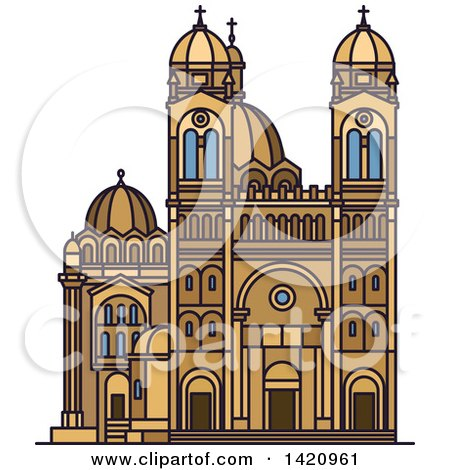 Clipart of a French Landmark, Cathedral of Saint Mary Major - Royalty Free Vector Illustration by Vector Tradition SM