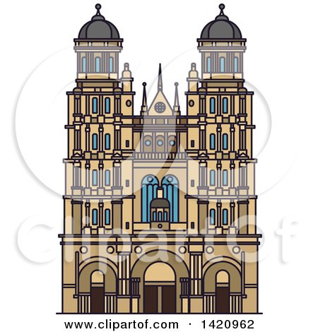 Clipart of a French Landmark, Cathedral of Saint Andrew - Royalty Free Vector Illustration by Vector Tradition SM