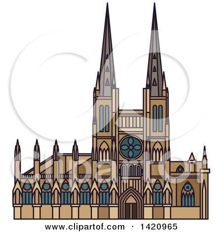 Clipart of a French Landmark, Church of Saint Michel - Royalty Free Vector Illustration by Vector Tradition SM