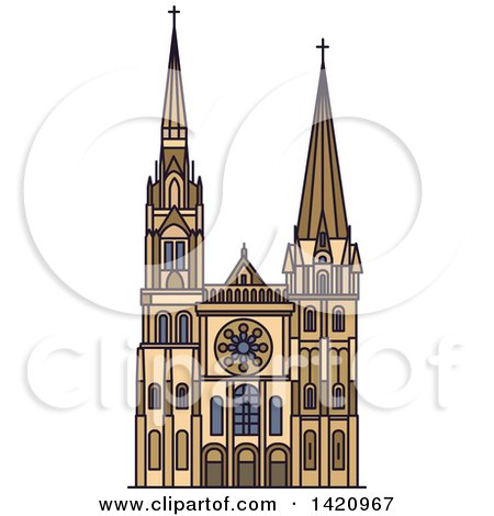 Clipart of a French Landmark, Chartres Cathedral - Royalty Free Vector Illustration by Vector Tradition SM