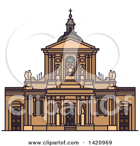 Clipart of a French Landmark, Chapel of Sainte Ursule of Sorbonne University - Royalty Free Vector Illustration by Vector Tradition SM
