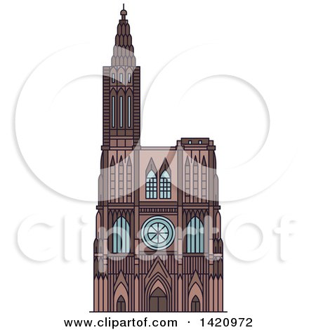 Clipart of a French Landmark, Rouen Cathedral - Royalty Free Vector Illustration by Vector Tradition SM