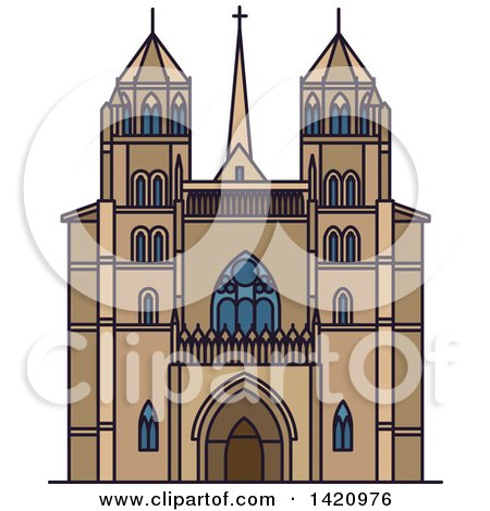 Clipart of a French Landmark, Dijon Cathedral - Royalty Free Vector Illustration by Vector Tradition SM