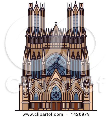 Clipart of a French Landmark, Reims Cathedral - Royalty Free Vector Illustration by Vector Tradition SM