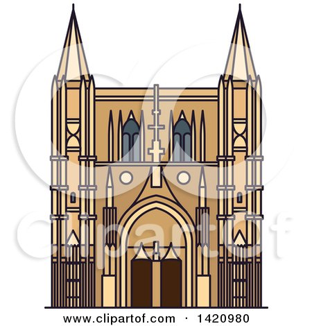 Clipart of a French Landmark, Basilica of Saint Denis - Royalty Free Vector Illustration by Vector Tradition SM
