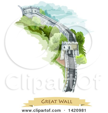 Clipart of a Watercolor Styled View of the Great Wall of China - Royalty Free Vector Illustration by Vector Tradition SM