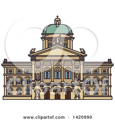Clipart of a Switzerland Landmark, Federal Palace - Royalty Free Vector Illustration by Vector Tradition SM