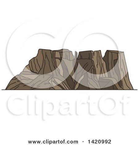 Clipart of a Africa Landmark, Drakensberg or Dragons Mountains - Royalty Free Vector Illustration by Vector Tradition SM