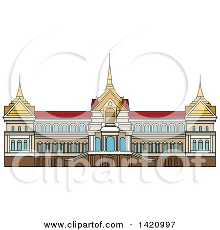 Clipart of a Thailand Landmark, Royal Palace - Royalty Free Vector Illustration by Vector Tradition SM