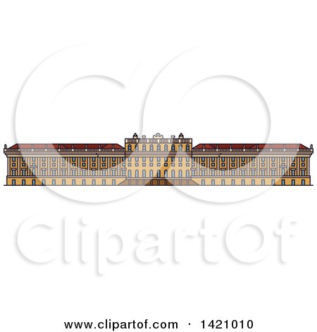 Clipart of a Austria Landmark, Schonbrunn Palace - Royalty Free Vector Illustration by Vector Tradition SM