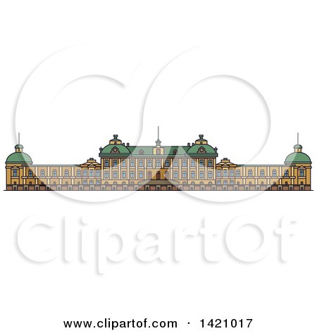 Clipart of a Sweden Landmark, Drottningholm Palace - Royalty Free Vector Illustration by Vector Tradition SM