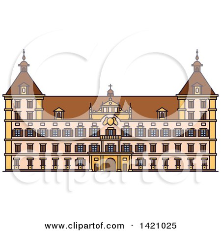 Clipart of a Austria Landmark, Eggenberg Palace - Royalty Free Vector Illustration by Vector Tradition SM