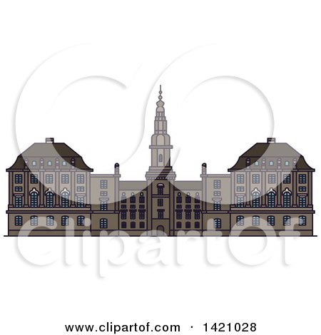 Clipart of a Denmark Landmark, Christiansborg Palace - Royalty Free Vector Illustration by Vector Tradition SM