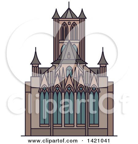 Clipart of a BLANK Landmark, Cathedral - Royalty Free Vector Illustration by Vector Tradition SM