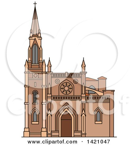 Clipart of a Spain Landmark, Santiago Cathedral - Royalty Free Vector Illustration by Vector Tradition SM