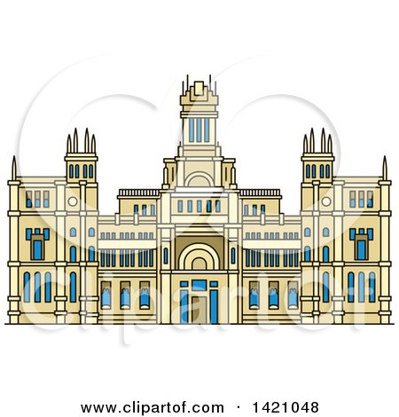 Clipart of a Spain Landmark, Cibeles Palace - Royalty Free Vector Illustration by Vector Tradition SM