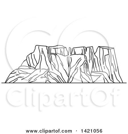Clipart of a Black and White Lineart African Landmark, Drakensberg - Royalty Free Vector Illustration by Vector Tradition SM