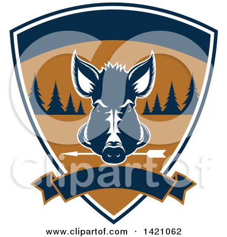 Clipart of a Wild Boar Hunting Design - Royalty Free Vector Illustration by Vector Tradition SM
