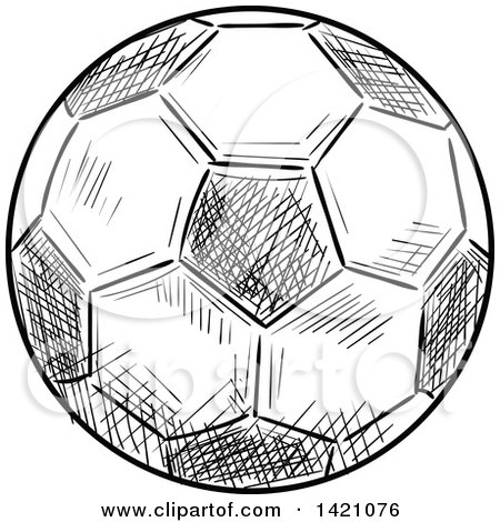 Black and white sketched soccer ball posters art prints