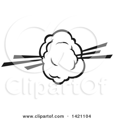 Clipart of a Black and White Comic Burst Explosion or Poof - Royalty Free Vector Illustration by Vector Tradition SM