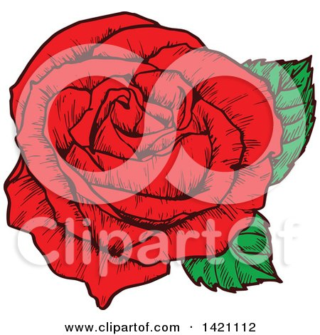 Clipart of a Sketched Red Rose Flower - Royalty Free Vector Illustration by Vector Tradition SM