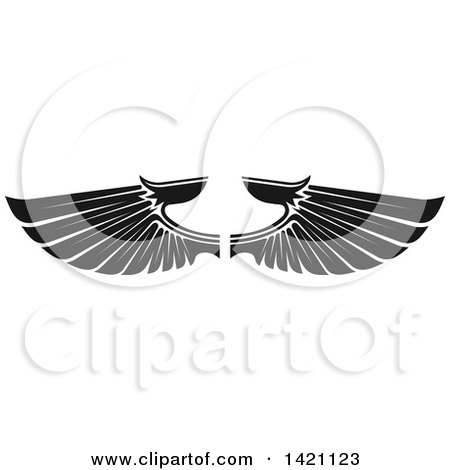Clipart of a Pair of Black and White Feathered Wings - Royalty Free Vector Illustration by Vector Tradition SM