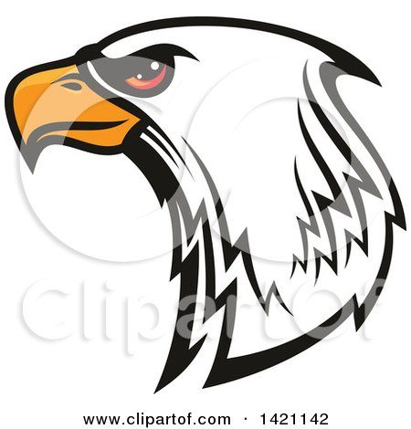 Clipart of a Firece Bald Eagle Head with Red Eyes - Royalty Free Vector Illustration by Vector Tradition SM