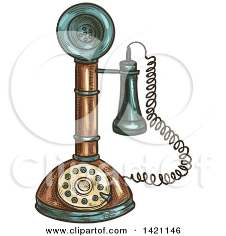 Clipart of a Sketched and Color Filled Vintage Candlestick Telephone - Royalty Free Vector Illustration by Vector Tradition SM