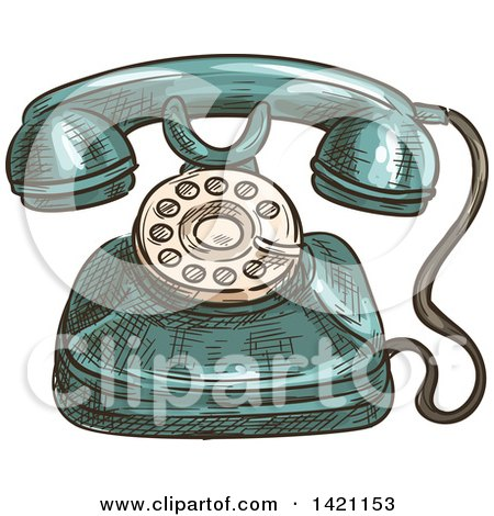 Clipart of a Sketched and Color Filled Vintage Telephone - Royalty Free Vector Illustration by Vector Tradition SM