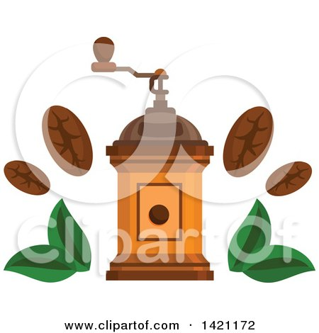 Clipart of a Vintage Coffee Grinder with Beans and Leaves - Royalty Free Vector Illustration by Vector Tradition SM