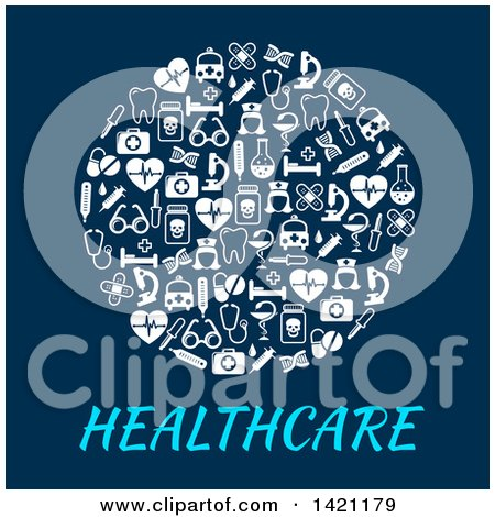 Clipart of a Circle Formed of White Medical Icons over Healthcare Text on Blue - Royalty Free Vector Illustration by Vector Tradition SM