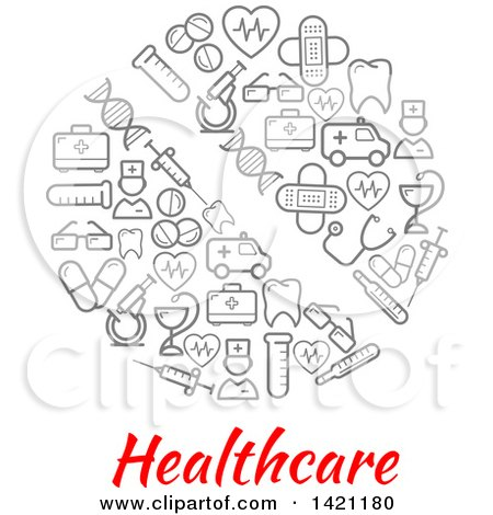 Clipart of a Round RX Pill Made of Gray Medical Icons over Healthcare Text - Royalty Free Vector Illustration by Vector Tradition SM