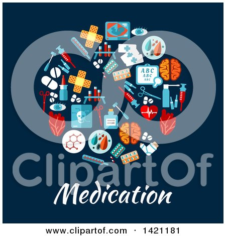Clipart of a Round RX Pill Made of Flat Style Medical Icons over Medication Text on Blue - Royalty Free Vector Illustration by Vector Tradition SM