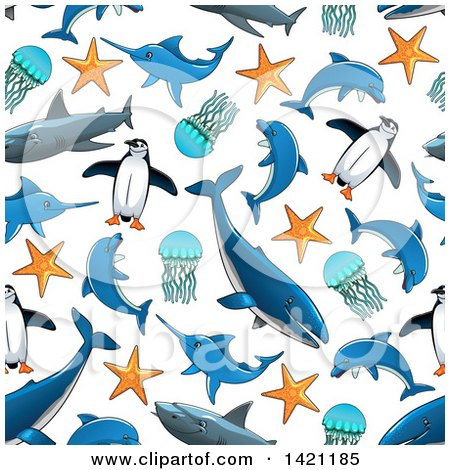 Clipart of a Seamless Pattern Background of Sea Life - Royalty Free Vector Illustration by Vector Tradition SM