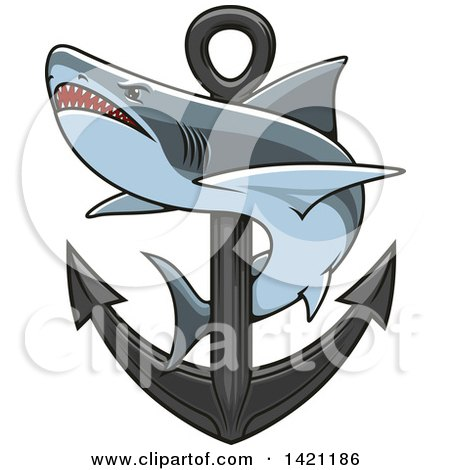 Clipart of a Shark Swimming Around a Nautical Anchor - Royalty Free Vector Illustration by Vector Tradition SM