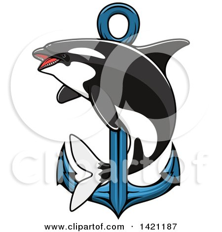 Clipart of a Killer Whale Orca Swimming Around a Nautical Anchor - Royalty Free Vector Illustration by Vector Tradition SM