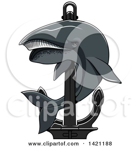 Clipart of a Whale Swimming Around a Nautical Anchor - Royalty Free Vector Illustration by Vector Tradition SM