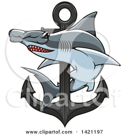 Clipart of a Hammerhead Shark Swimming Around a Nautical Anchor - Royalty Free Vector Illustration by Vector Tradition SM