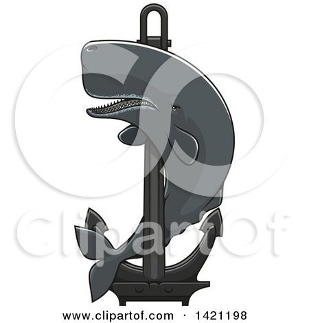 Clipart of a Cachalot Whale Swimming Around a Nautical Anchor - Royalty Free Vector Illustration by Vector Tradition SM
