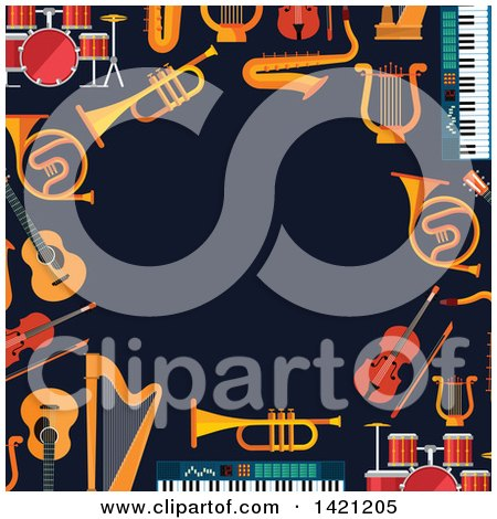 Clipart of a Border of Musical Instruments on Dark Blue - Royalty Free Vector Illustration by Vector Tradition SM