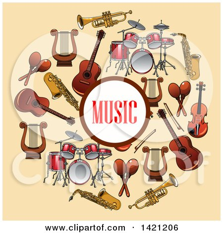 Clipart of a Music Circle Surrounded by Instruments on Tan - Royalty Free Vector Illustration by Vector Tradition SM